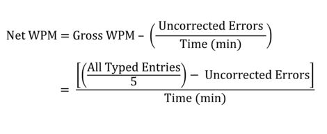 Net Words Per Minute (WPM) typing speed equation